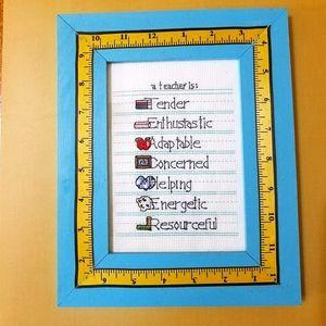 """A Teacher Is:"" Cross-stitch Picture"